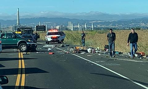 Head on Vehicle Crash Blocks Lanes Near Antioch Bridge